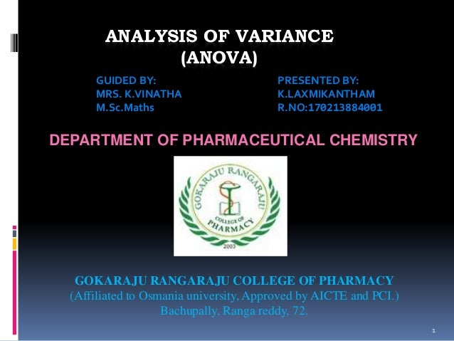 ANALYSIS OF VARIANCE  (ANOVA)  1  GUIDED BY: PRESENTED BY:  MRS. K.VINATHA K.LAXMIKANTHAM  M.Sc.Maths R.NO:170213884001  D...