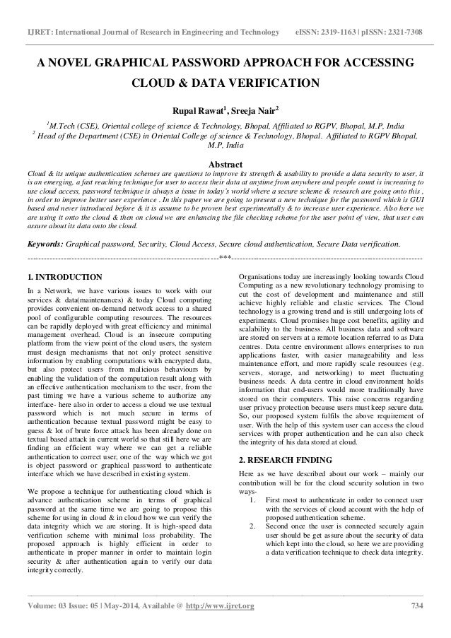a novel graphical password approach for accessing cloud data verifi  ijret international journal of research in engineering and technology eissn 2319 1163