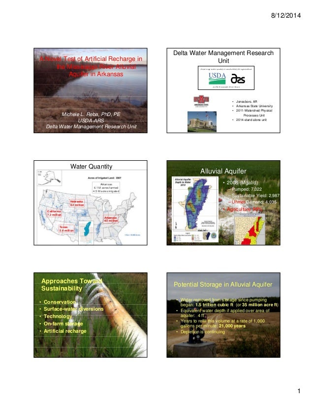 8/12/2014 1 A Novel Test of Artificial Recharge in the Mississippi River Alluvial Aquifer in Arkansas Michele L. Reba, PhD...