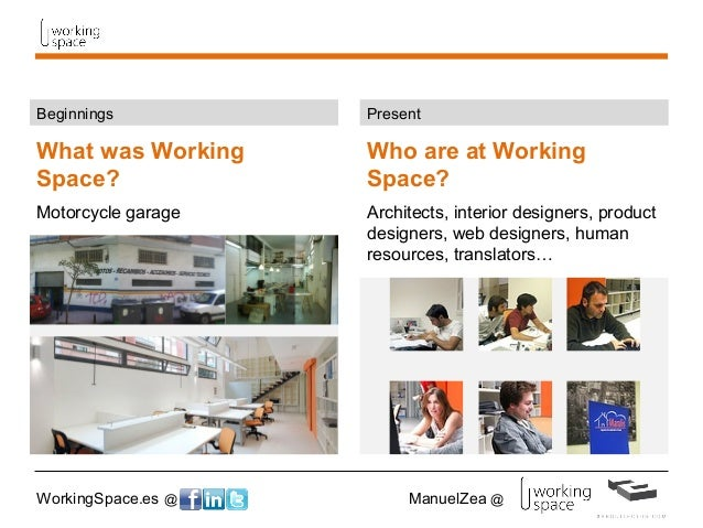 WorkingSpace.es @ ManuelZea @ What was Working Space? Motorcycle garage Beginnings Who are at Working Space? Architects, i...