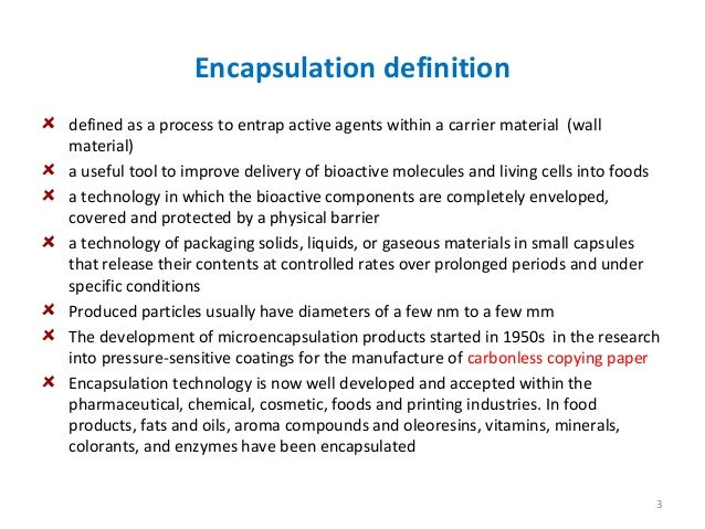 An overview of encapsulation technologies for food