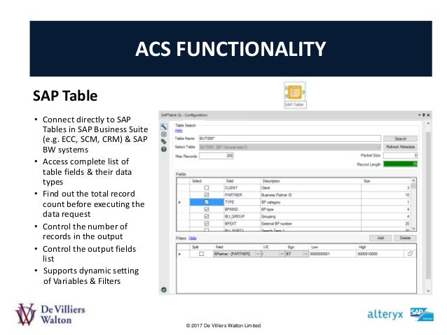 An introduction to the dvw alteryx connector for sap for Level table sap