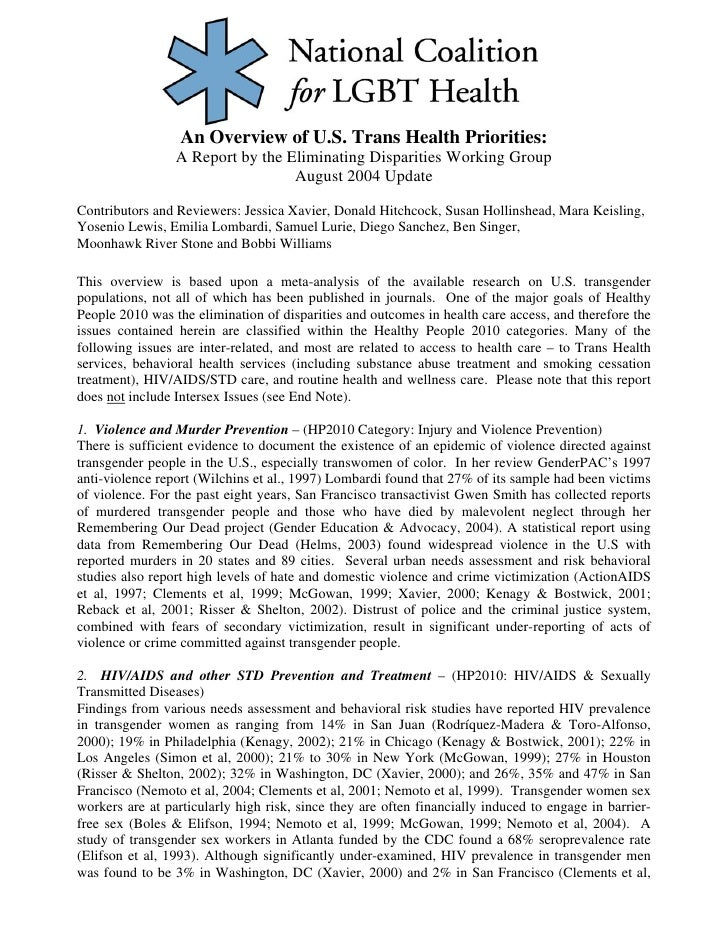 An Overview of U.S. Trans Health Priorities:                  A Report by the Eliminating Disparities Working Group       ...