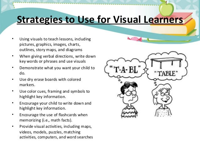 a comparison of visual and auditory learning Characteristics of learning styles characteristics of auditory learners they are distractible and find it difficult to pay attention to auditory or visual.