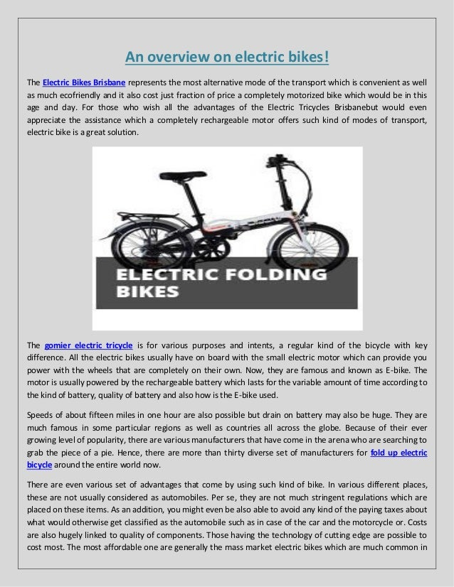An overview on electric bikes
