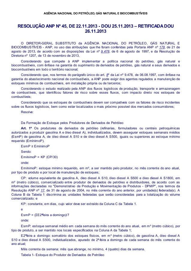 AGÊNCIA NACIONAL DO PETRÓLEO, GÁS NATURAL E BIOCOMBUSTÍVEIS RESOLUÇÃO ANP Nº 45, DE 22.11.2013 - DOU 25.11.2013 – RETIFICA...