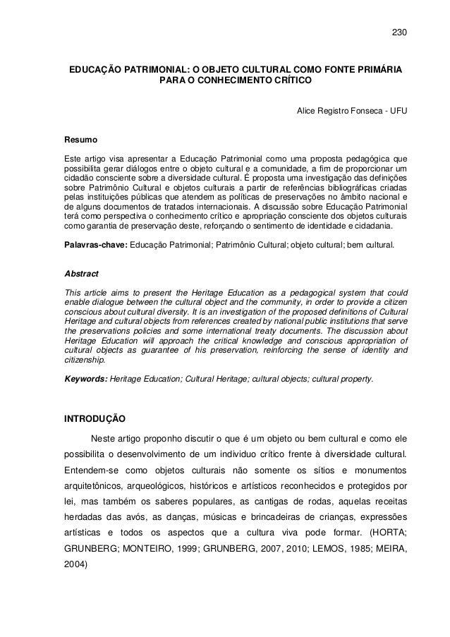 230 EDUCAÇÃO PATRIMONIAL: O OBJETO CULTURAL COMO FONTE PRIMÁRIA                PARA O CONHECIMENTO CRÍTICO                ...