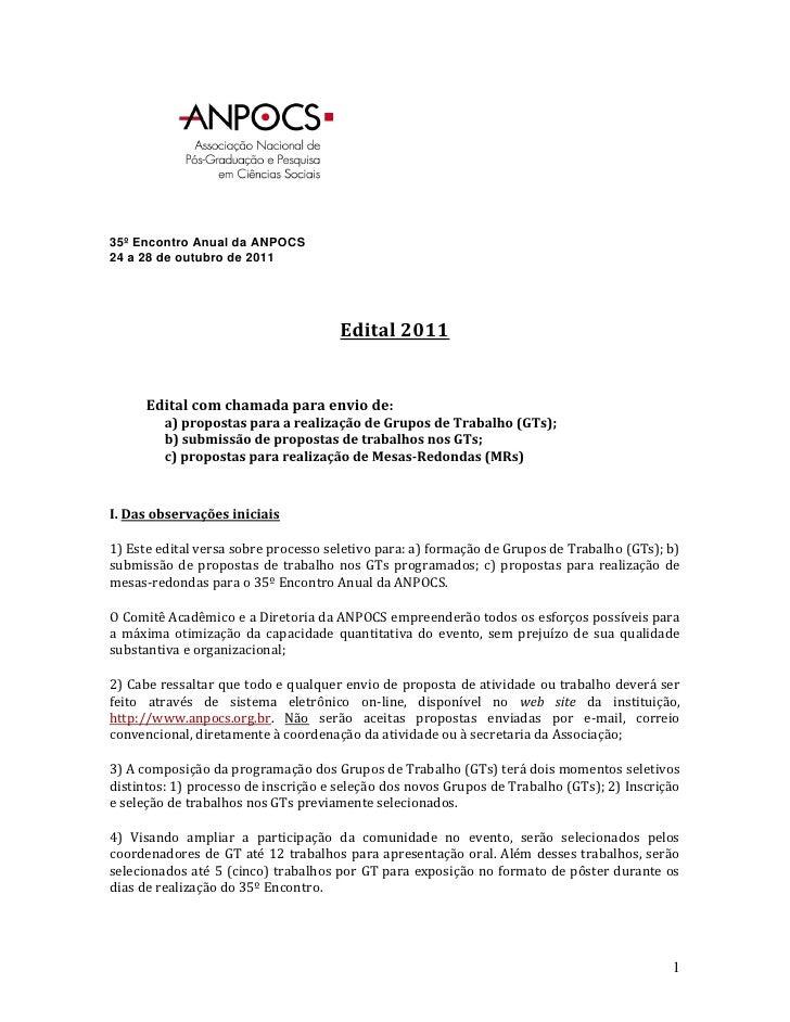 35º Encontro Anual da ANPOCS24 a 28 de outubro de 2011                                     Edital 2011      Edital com cha...