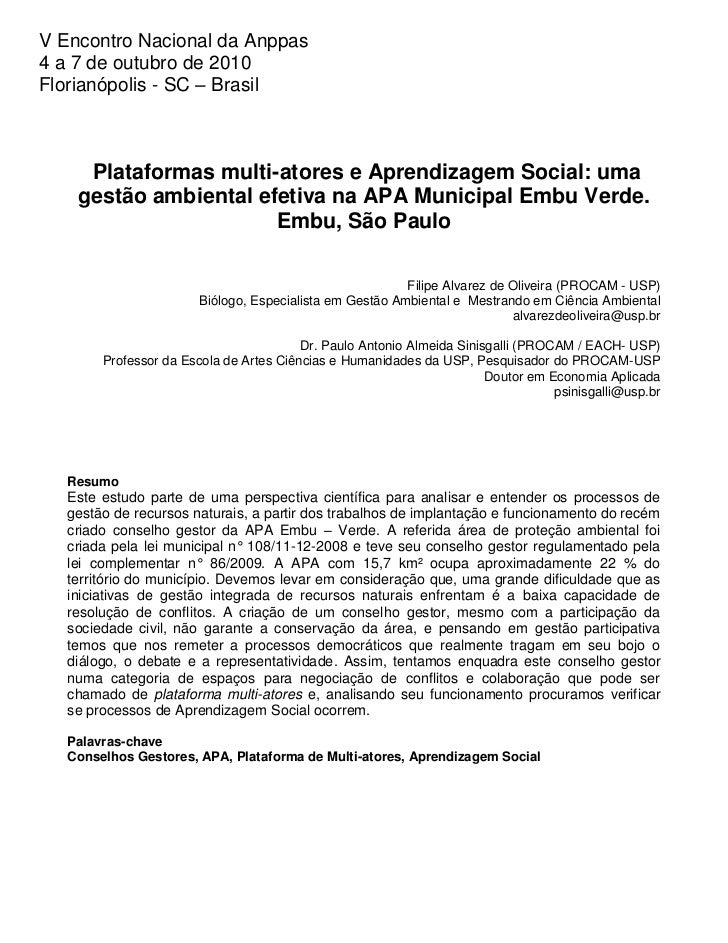 V Encontro Nacional da Anppas4 a 7 de outubro de 2010Florianópolis - SC – Brasil     Plataformas multi-atores e Aprendizag...
