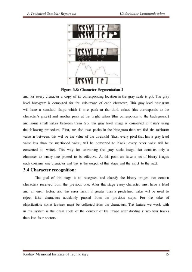 A Technical Seminar Report on Underwater Communication Keshav Memorial Institute of Technology 15 Figure 3.8: Character Se...