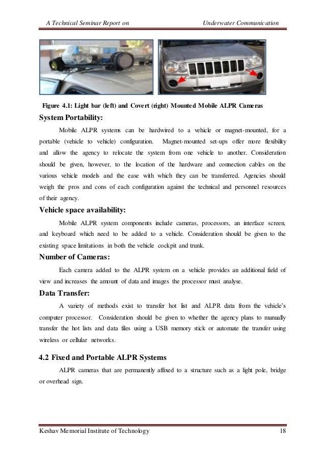 A Technical Seminar Report on Underwater Communication Keshav Memorial Institute of Technology 18 Figure 4.1: Light bar (l...