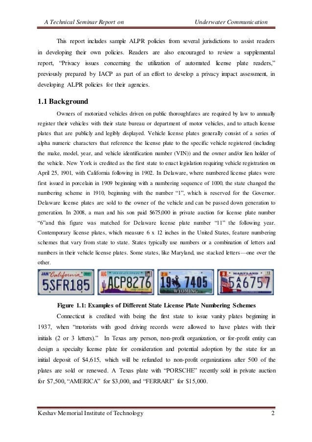A Technical Seminar Report on Underwater Communication Keshav Memorial Institute of Technology 2 This report includes samp...