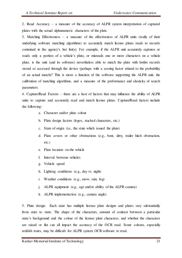 A Technical Seminar Report on Underwater Communication Keshav Memorial Institute of Technology 21 2. Read Accuracy – a mea...