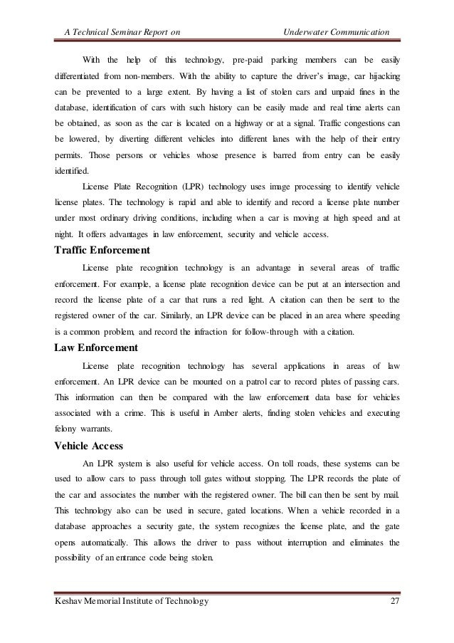 A Technical Seminar Report on Underwater Communication Keshav Memorial Institute of Technology 27 With the help of this te...