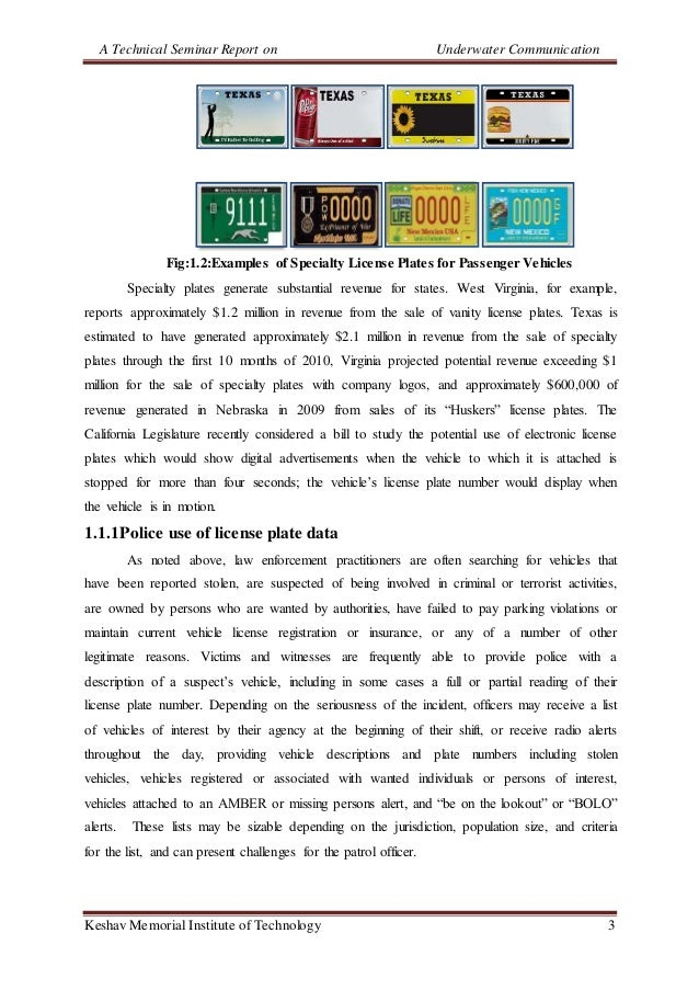 A Technical Seminar Report on Underwater Communication Keshav Memorial Institute of Technology 3 Fig:1.2:Examples of Speci...