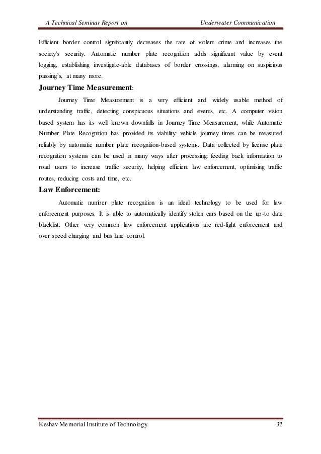 A Technical Seminar Report on Underwater Communication Keshav Memorial Institute of Technology 32 Efficient border control...
