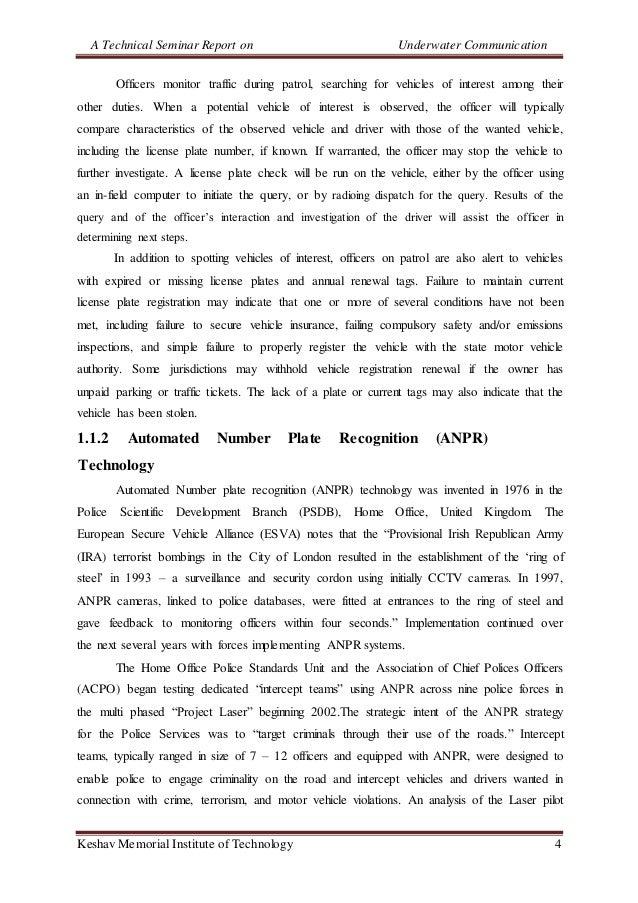 A Technical Seminar Report on Underwater Communication Keshav Memorial Institute of Technology 4 Officers monitor traffic ...