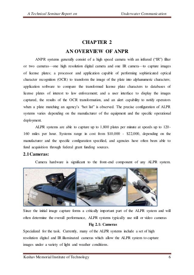 A Technical Seminar Report on Underwater Communication Keshav Memorial Institute of Technology 6 CHAPTER 2 AN OVERVIEW OF ...