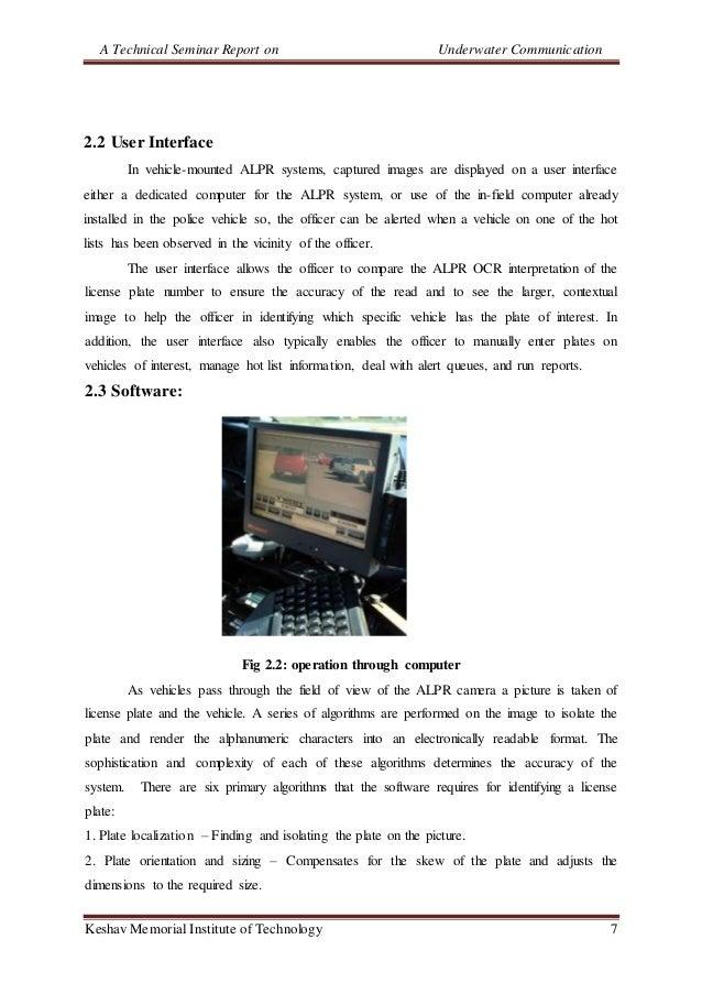 A Technical Seminar Report on Underwater Communication Keshav Memorial Institute of Technology 7 2.2 User Interface In veh...