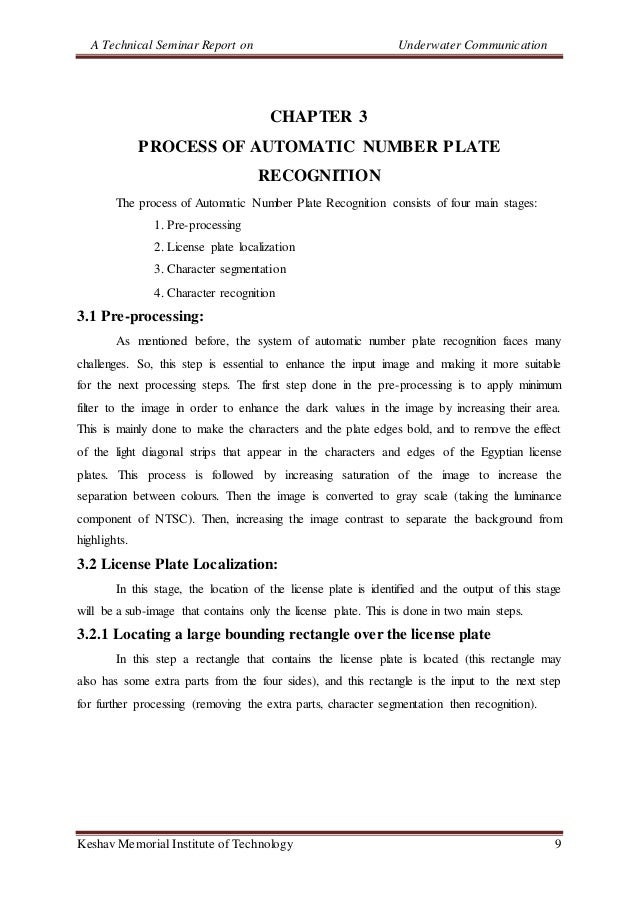A Technical Seminar Report on Underwater Communication Keshav Memorial Institute of Technology 9 CHAPTER 3 PROCESS OF AUTO...