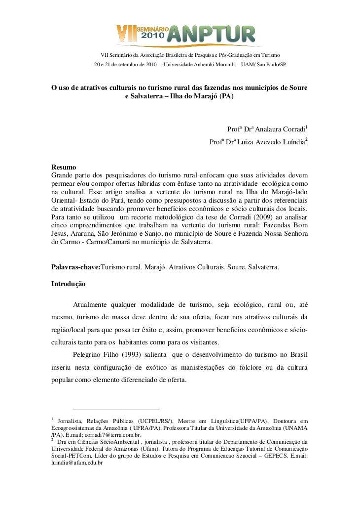 VII Seminário da Associação Brasileira de Pesquisa e Pós-Graduação em Turismo                20 e 21 de setembro de 2010 –...