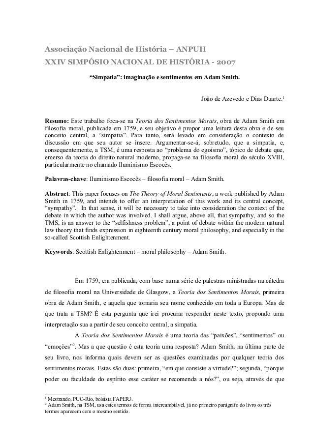 """Associação Nacional de História – ANPUH XXIV SIMPÓSIO NACIONAL DE HISTÓRIA - 2007 """"Simpatia"""": imaginação e sentimentos em ..."""