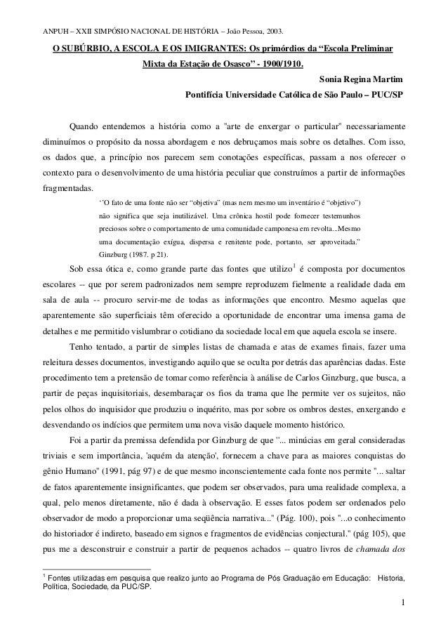 """ANPUH – XXII SIMPÓSIO NACIONAL DE HISTÓRIA – João Pessoa, 2003. O SUBÚRBIO, A ESCOLA E OS IMIGRANTES: Os primórdios da """"Es..."""