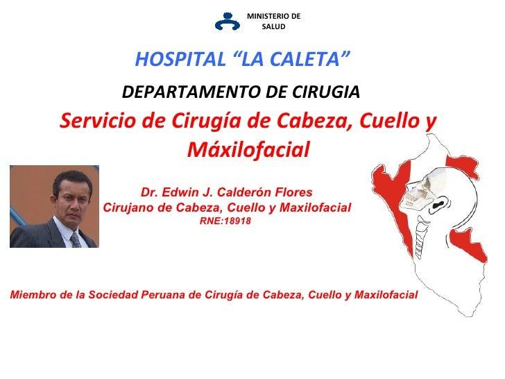 MINISTERIO DE SALUD Servicio de Cirugía de Cabeza, Cuello y Máxilofacial DEPARTAMENTO DE CIRUGIA Dr. Edwin J. Calderón Flo...