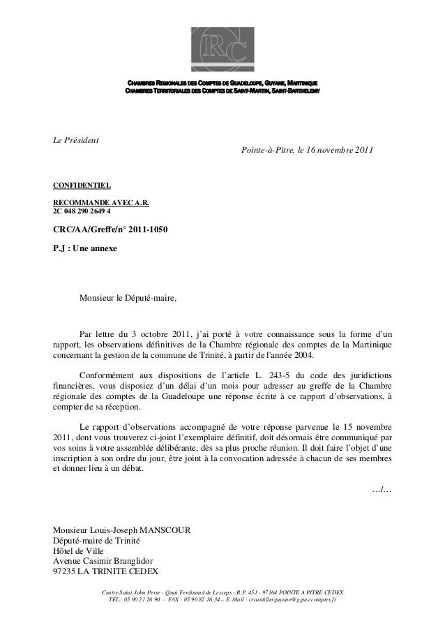 CHAMBRES REGIONALES DES COMPTES DE GUADELOUPE, GUYANE, MARTINIQUE CHAMBRES TERRITORIALES DES COMPTES DE SAINT-MARTIN, SAIN...