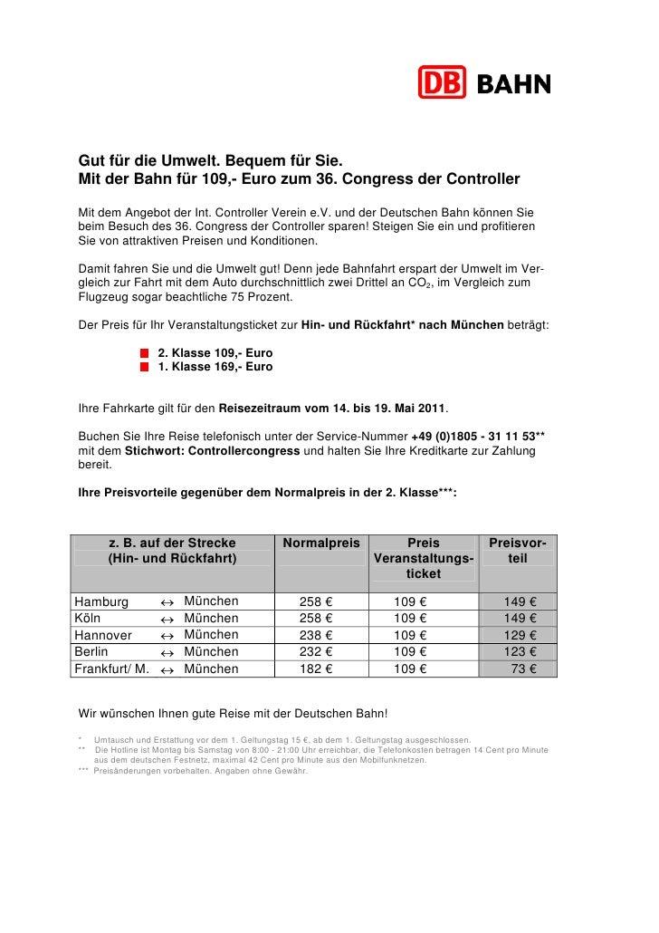 Gut für die Umwelt. Bequem für Sie.Mit der Bahn für 109,- Euro zum 36. Congress der ControllerMit dem Angebot der Int. Con...
