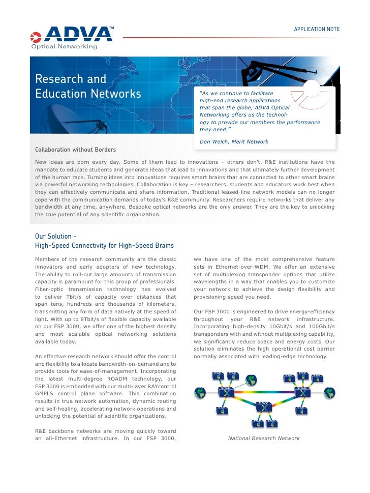 """APPLICATION NOTEResearch andEducation Networks                                           """"As we continue to facilitate    ..."""