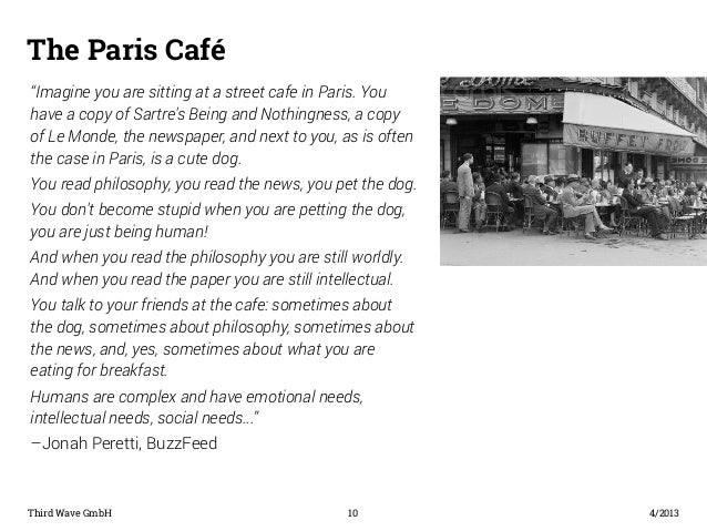 "The Paris Café  ""Imagine you are sitting at a street cafe in Paris. You  have a copy of Sartre's Being and Nothingness, a ..."