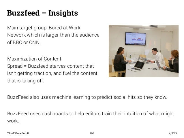 Buzzfeed – Insights  Main target group: Bored-at-Work  Network which is larger than the audience  of BBC or CNN.  Maximiza...