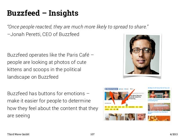 "Buzzfeed – Insights  ""Once people reacted, they are much more likely to spread to share.""  –Jonah Peretti, CEO of Buzzfeed..."