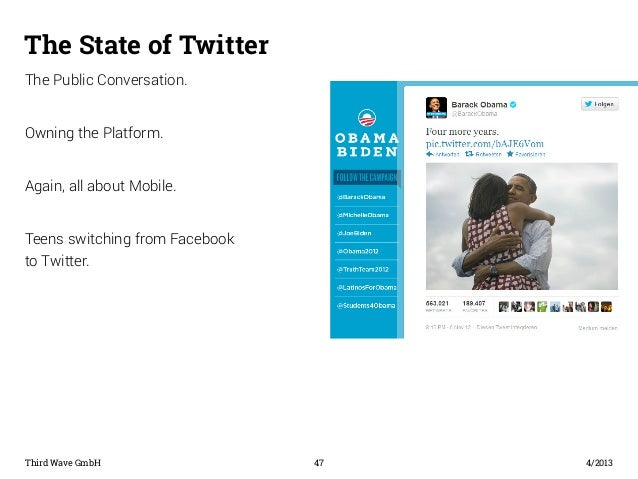 The State of Twitter  The Public Conversation.  Owning the Platform.  Again, all about Mobile.  Teens switching from Faceb...