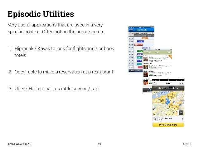 Episodic Utilities  Very useful applications that are used in a very  specific context. Often not on the home screen.  1. ...