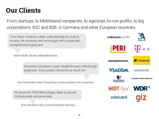 From startups, to Mittelstand companies, to agencies, to non-profits, to big  corporations. B2C and B2B. In Germany and ot...