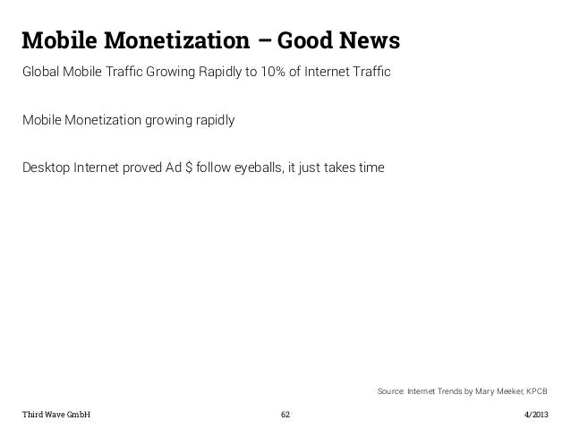 Mobile Monetization – Good News  Global Mobile Traffic Growing Rapidly to 10% of Internet Traffic  Mobile Monetization gro...