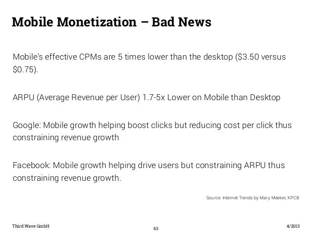 Mobile Monetization – Bad News  Mobile's effective CPMs are 5 times lower than the desktop ($3.50 versus  $0.75).  ARPU (A...