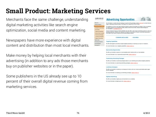 Small Product: Marketing Services  Merchants face the same challenge, understanding  digital marketing activities like sea...