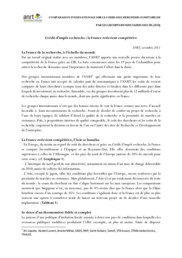 COMPARAISON INTERNATIONALE SUR LE COURS DU CHERCHEUR COMPTABILISE PAR LES GROUPES BENEFICIAIRES DU CIR (2010) Crédit d'imp...
