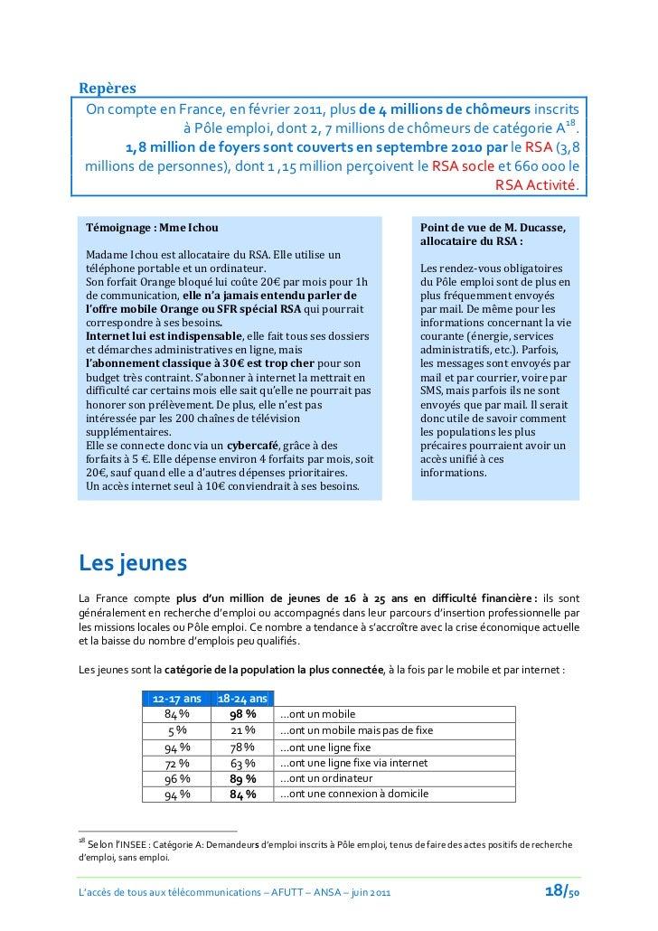 Repères On compte en France, en février 2011, plus de 4 millions de chômeurs inscrits                  à Pôle emploi, dont...