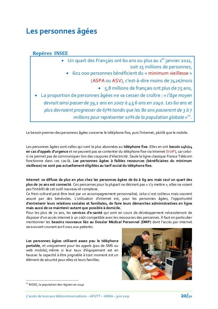 Les personnes âgées       Repères INSEE                     Un quart des Français ont 60 ans ou plus au 1er janvier 2011,...