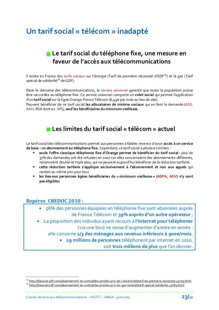 Un tarif social « télécom » inadapté                  Le tarif social du téléphone fixe, une mesure en                   ...