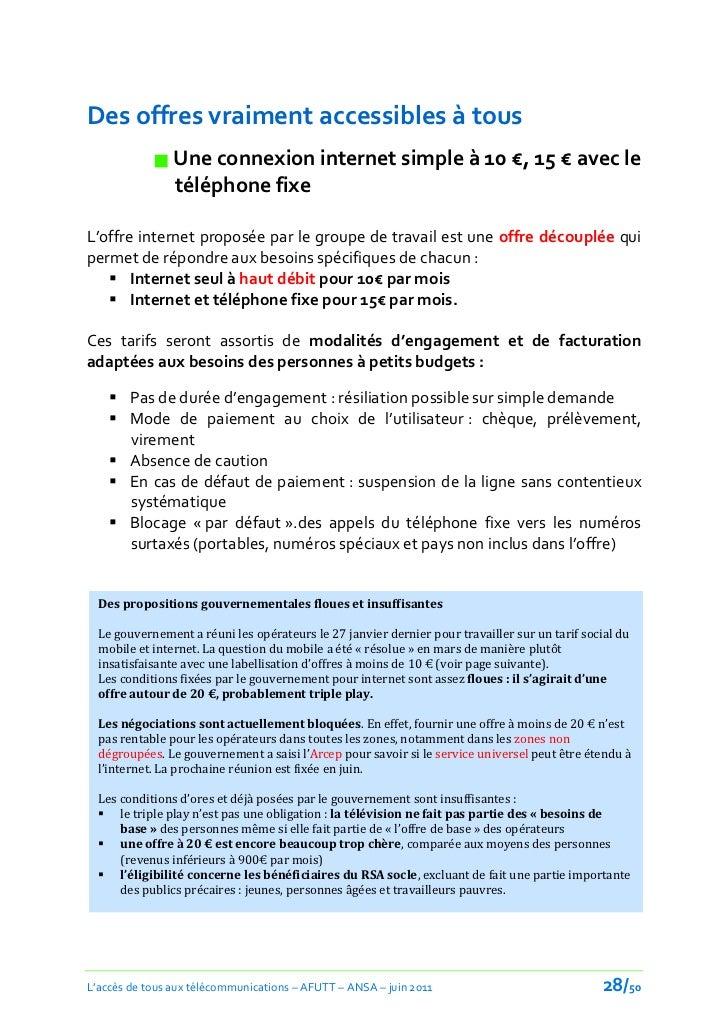 Des offres vraiment accessibles à tous             Une connexion internet simple à 10 €, 15 € avec le              téléph...
