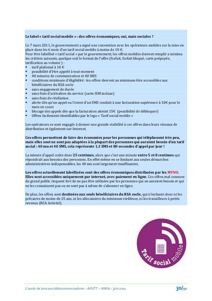 Le label « tarif social mobile » : des offres économiques, oui, mais sociales ?Le 7 mars 2011, le gouvernement a signé une...