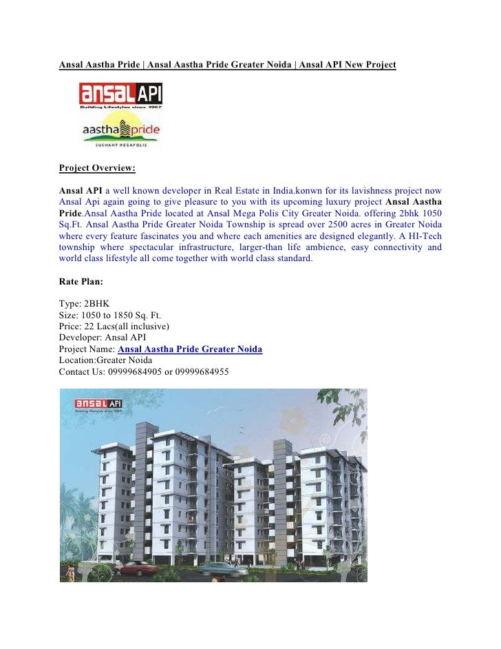Ansal Aastha Pride | Ansal Aastha Pride Greater Noida | Ansal API New ProjectProject Overview:Ansal API a well known devel...