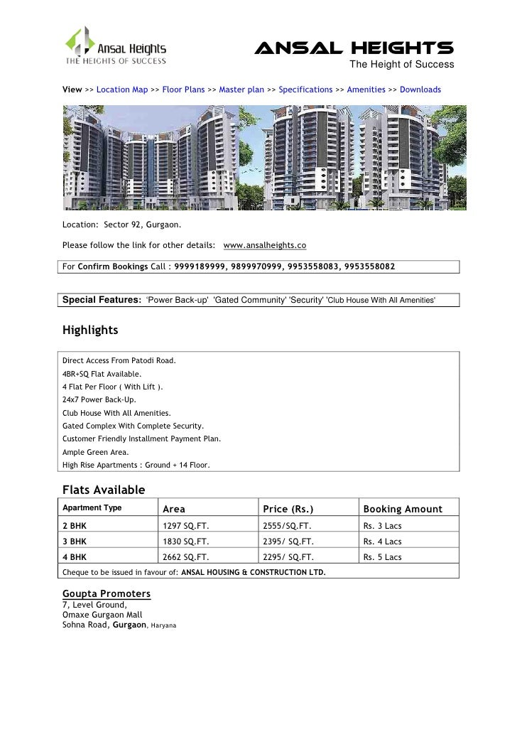 Ansal Heights                                                                        The Height of SuccessView >> Location...