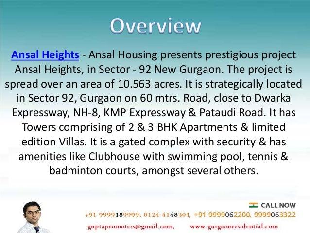 Ansal Heights Gurgaon- Buy Apartments on New Gurgaon Slide 3