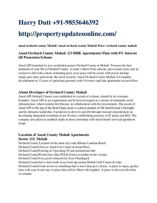 Harry Dutt +91-9855646392 http://propertyupdatesonline.com/ ansal orchard county Mohali   ansal orchard county Mohali Pric...